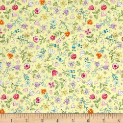 Michael Miller Tweet Me Bitty Blooms Yellow Fabric