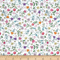 Michael Miller Tweet Me Bitty Blooms White Fabric