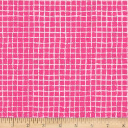 Michael Miller Tweet Me Pretty Grid Pink Fabric