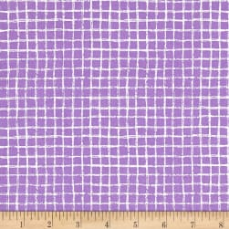 Michael Miller Tweet Me Pretty Grid Purple Fabric