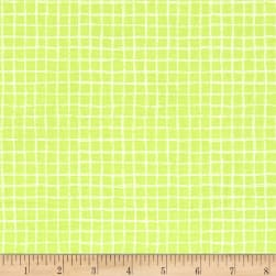 Michael Miller Tweet Me Pretty Grid Limeade Fabric