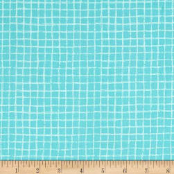 Michael Miller Tweet Me Pretty Grid Aqua Fabric