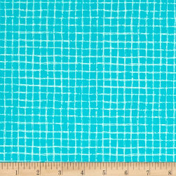Michael Miller Tweet Me Pretty Grid Turquoise Fabric
