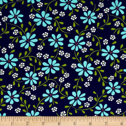 Michael Miller Wildflower Garden Mayapple Navy Fabric
