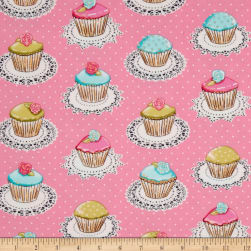 Michael Miller Flannel Quaint Cupcakes Glitter Metallic Pink Fabric