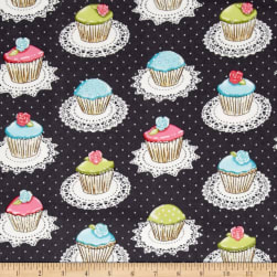 Michael Miller Flannel Quaint Cupcakes Glitter Metallic Gray