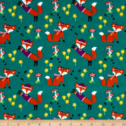 Michael Miller Flannel Lil' Foxy Teal Fabric