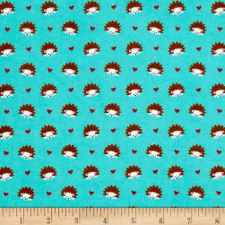 Michael Miller Flannel Hedgehog Heaven Turquoise Fabric