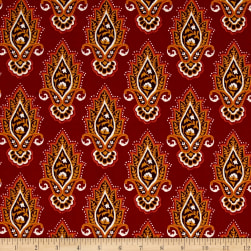 Michael Miller Indian Summer Lotus Flower Paprika Fabric