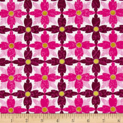 Michael Miller Indian Summer Tea Flower Magenta Fabric
