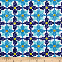 Michael Miller Indian Summer Tea Flower Saphire Fabric