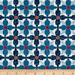 Michael Miller Indian Summer Tea Flower Azure Fabric