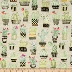 Michael Miller Lovely Llamas Cactus Hoedown Tan Fabric