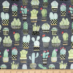 Michael Miller Lovely Llamas Cactus Hoedown Gray Fabric