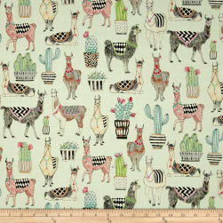 Michael Miller Lovely Llamas Lovely Llamas Mint Fabric
