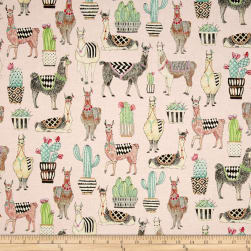 Michael Miller Lovely Llamas Lovely Llamas Pink Fabric