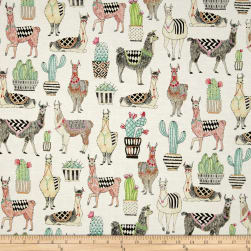 Michael Miller Lovely Llamas Lovely Llamas White Fabric