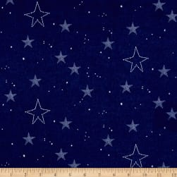 Michael Miller Flannel Sarah Jane Magic Lucky Stars Navy Fabric