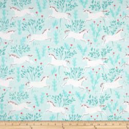 Michael Miller Flannel Sarah Jane Magic Unicorn Forest Aqua
