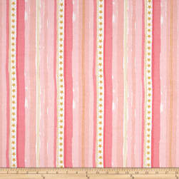 Michael Miller Flannel Sarah Jane Magic Stars And Stripes Pink Fabric