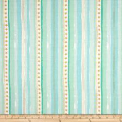 Michael Miller Flannel Sarah Jane Magic Stars And Stripes Aqua Fabric