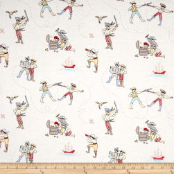 Michael Miller Flannel Sarah Jane Out To Sea A Pirate's Life Soft White