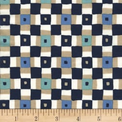 Michael Miller Sandpipers Square Dance Navy Fabric