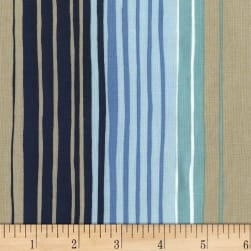 Michael Miller Sandpipers Tideline Stripe Navy Fabric