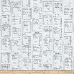 Michael Miller Main Street Shop Receipts Graphite Fabric
