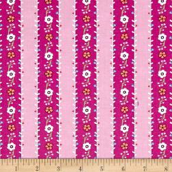 Michael Miller Saturday Morning Flower Garland Pink Fabric