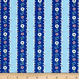 Michael Miller Saturday Morning Flower Garland Blue Fabric