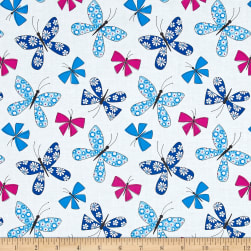 Michael Miller Saturday Morning Chasing Butterflies Blue Fabric