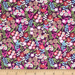 Michael Miller Saturday Morning Fresh Flowers Blackberry Fabric
