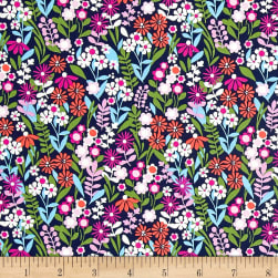 Michael Miller Saturday Morning Fresh Flowers Navy Fabric