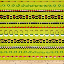 Michael Miller Bento Box Conveyor Sushi Wasabi Fabric