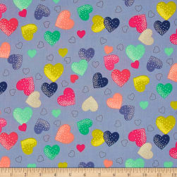 Fantasy Hearts Silver Fabric