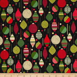 Modern Metallic Christmas Baubles Black Fabric