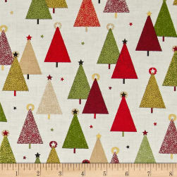 Modern Metallic Christmas Trees Bright Fabric