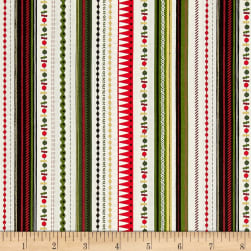 Modern Metallic Christmas Modern Metallic Stripe Green Fabric