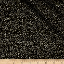 Modern Metallic Christmas Dotty Black Fabric