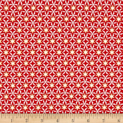 Modern Metallic Christmas Geometric Stars Red Fabric