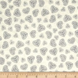 Scandi 4 Hearts Silver Fabric