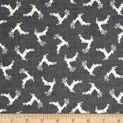 Scandi 4 Deer Scatter Dark Silver Fabric