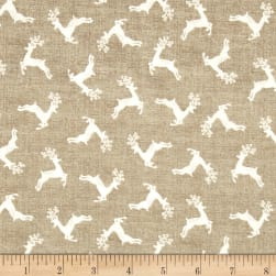 Scandi 4 Deer Scatter Darkk Cream Fabric