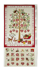 "Traditional Metallic Christmas Advent Calender 24"" Panel Bright"