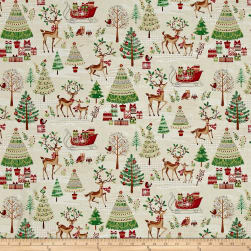 Traditional Metallic Christmas Scenic Bright Fabric