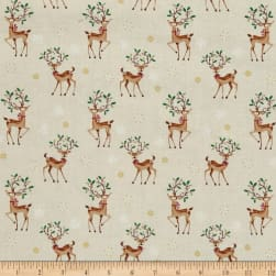 Traditional Metallic Christmas Reindeer Scatter Bright Fabric