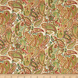 Traditional Metallic Christmas Paisley Cream