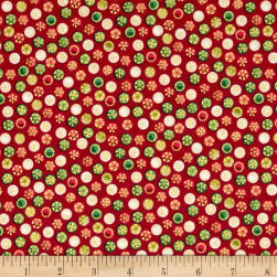 Traditional Metallic Christmas Bauble Spot Red Fabric