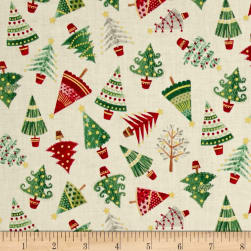 Traditional Metallic Christmas Trees Cream Fabric